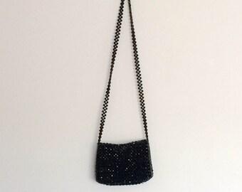 1970s Black Beaded Handbag Purse Vintage