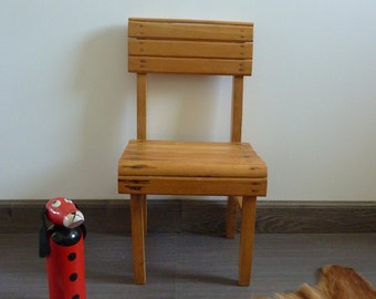 Old small chair in solid wood, vintage 1970's vintage