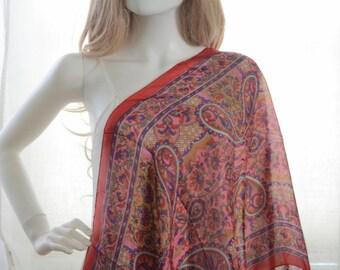 pink floral paisley silk scarf, scarf,floral scarf, silk scarf, embellished scarf