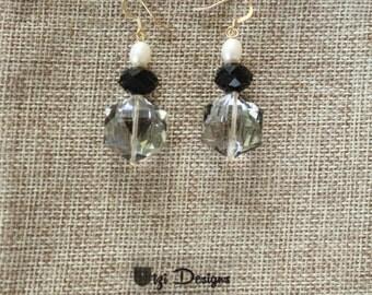 Freshwater Pearl & Crystal Elegant Drop Earrings