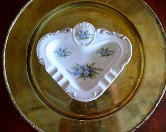 Forget-Me-Not Porcelain Ashtray, Mid-Century Tobacciana