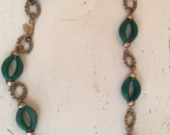 """Miriam Haskell Signed 39"""" Necklace Green/gold Tone Vintage"""