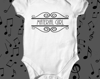 Material Girl Madonna baby bodysuit   Music baby bodysuit   baby girl clothes   baby shower gift   funny baby bodysuit   newborn baby outfit