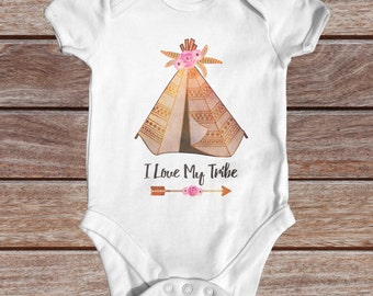 I Love My Tribe Baby Bodysuit | Hipster Baby Clothes | Tribal Baby Bodysuit | Cute Baby Clothes | Bohemian Baby | Wild Baby Bodysuit