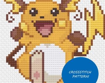 Raichu cross stitch pattern