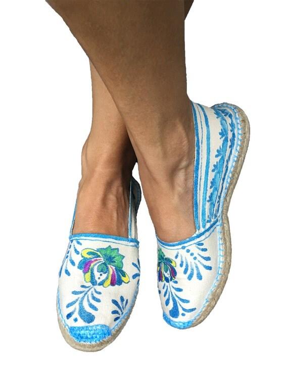 Alpargatas pintadas a mano talavera estilo barroco, bohemio, etnico, zapatos mexicanos pintados a