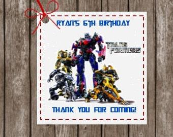 Transformers Tags, Custom Transformer Tags, Favor Tags, Gift Tags, Transformers Favor Tags