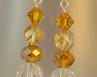 Crystal dangle earrings in shimmering amber