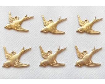 6 Small Swallow Charms - 1 Ring Left Facing