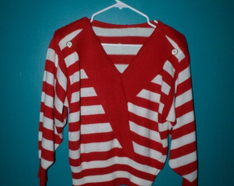 Red and White Striped Sailor Sweater