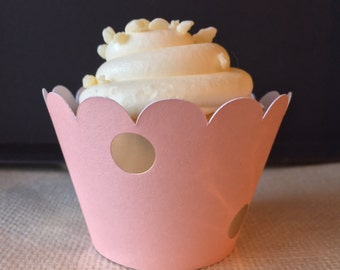 Peach and Gold Cupcake Wrappers