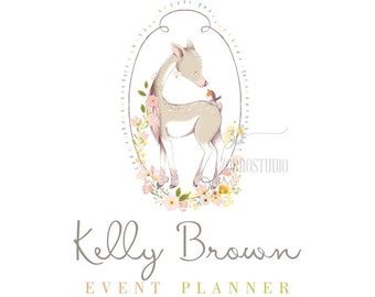 Premade Logo Design Deer Floral Baby Nursery Kids Birthday Invite Logo Custom Business Card Branding Shower Sign PL207