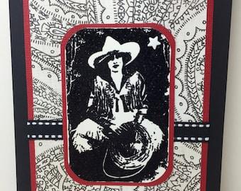 Cowgirl Birthday Card - Western - Rodeo - Handmade