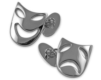 Sterling silver Comedy and Tragedy cufflinks