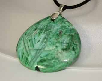 Green jasper teardrop pendant