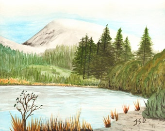 FA150 - Meadow Pond - Signed print of an original Watercolor by John Dibble
