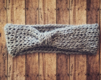 Grey crochet headband
