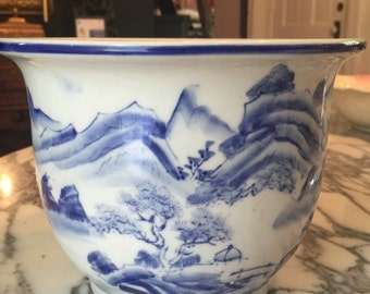 Blue and White pottery planter