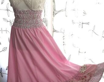 Handmade long skirt - cotton, pink