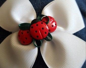 Ladybug White Pinwheel Bow