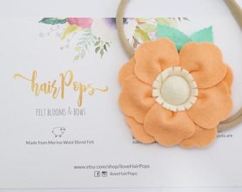 Guava Orange Big Anemone Flower Headband   Baby Kids Headband Hair Accessories   Soft Nylon Headband