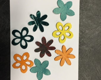 Leather Flowers For Crafts, Scrapbooking, Jewelry, etc...