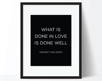 Love Quote Art, Love Print, Famous Quote Art, Vincent Van Gogh Quote, Famous Quote Print, Digital Download, Printable Wall Art, Digital Art