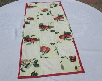 table runner, table topper, cherries, quilted, pears