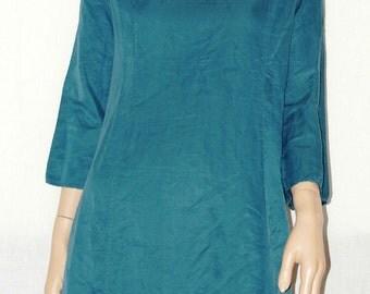 Soft & Wonderful Pure Silk Made in Italy Green Tunic Size M Dress 100% silk Tunic Mini Dress with 3/4 Sleeve-Green size M