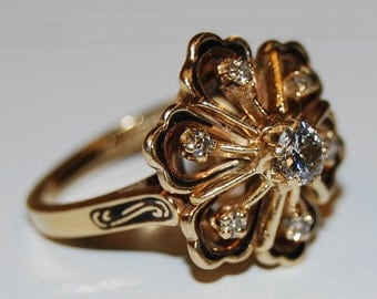 Vintage Mid-Century 14k Gold Diamond Enamel Flower Ring