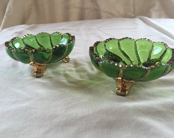 Set of Green Glassware Candy Dishes