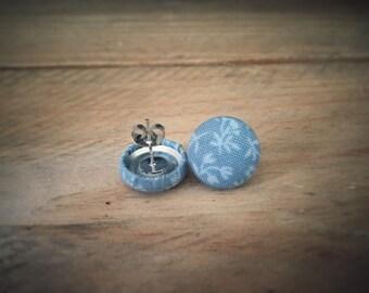 Grey Earrings. Floral Earrings. Handmade Earrings. Fabric Button Earrings. Gifts For Her. Gifts Under 20. Stud Earrings. Clip On Earrings.