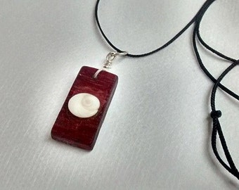 Rectangular Purple Heart and Spiral Shell Necklace