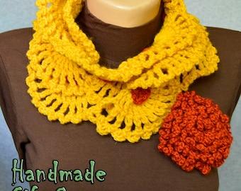 Crochet Scarf  Flower brooch Women Accessories Yellow