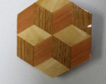 Wood Tumbling Block Coaster or Trivet