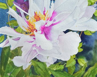 Peony and Clematis Note Card