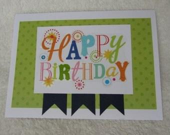 "Happy Birthday card, handmade card 5"" x 7"" includes envelope"