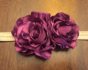Handmade Burgundy Floral Headband