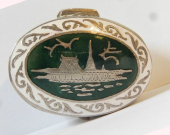 Antique Siam Silver Green and White Enamel Hinged Pill Box - 1930's