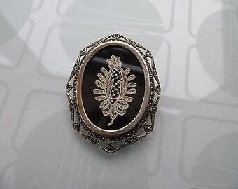 Antique SIlver Marcasite Lace Insert Brooch/Pendant