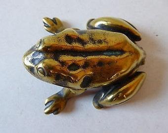 Antique Brass Frog Vesta Case