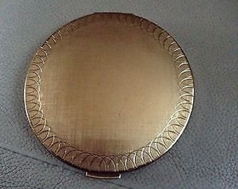 Nice Gold-Tone/brass Powder Compact - Unused - Stratton - Made in England