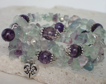 Multi Fluorite and Amethyst Gemstone Memory Wire Bracelet with Charm