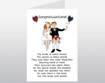 Scottish Wedding Card Bride & Groom WWWE71