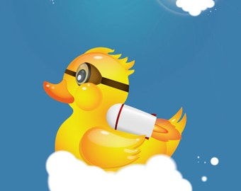 Poster of a Rubber Duck with Jetpack