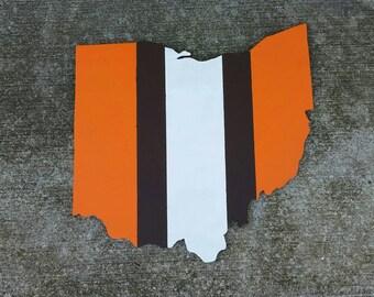 Cleveland Browns Helmet Stripe Wall Hanging Sign