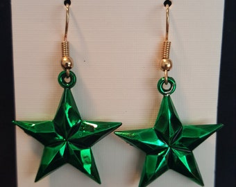 Green Metallic Star Earrings