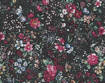 Country Florals with Black Background 100% cotton