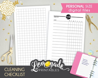 Cleaning planner insert cleaning Checklist Printable Personal planner Insert Weekly chores insert Personal planner Filofax kikki k Medium