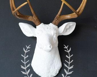 Wall Deer Head, Faux Taxidermy, Any Color Deer Head, Animal Head, Painted Deer Head, Fake Deer Head, Deer Antlers, Resin Deer Head, White